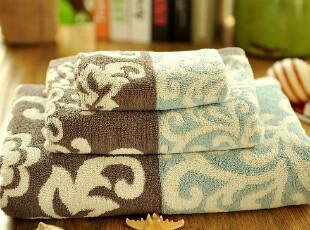 JF2850 外贸 尾货 双面双色 色织高毛圈 毛巾浴巾 三件套,毛巾,