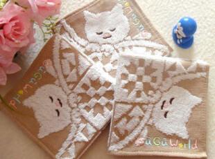 原单出口日本 GuGu World 睡梦中的猫 纯棉棉纱刺绣手帕/方巾,毛巾,