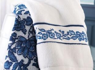 简单的奢华 现货 青花牡丹浴巾白底青花绣花 绝版限量   限时9折,毛巾,
