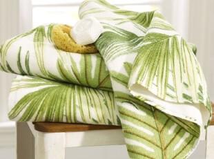 时尚家居浴巾套件 海风棕榈叶纯棉欧式650克浴巾毛巾二件套,毛巾,