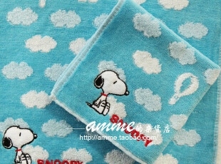 外贸出口纯棉云朵史努比小方巾手帕,毛巾,