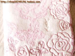 日单良品towel 圣罗兰 蝶恋花 纯棉割绒女士毛巾手帕小方巾擦手巾,毛巾,
