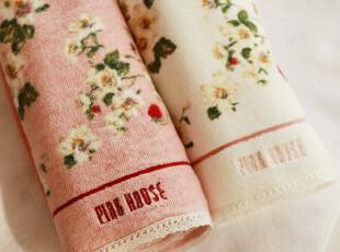 外贸出口日本piik house剪绒纯全棉蕾丝花朵毛巾,毛巾,