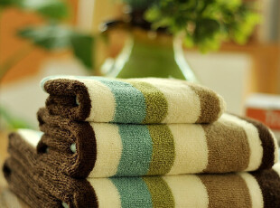 JF2854 P*RI 尾货 五色大条纹 色织高毛圈 毛巾浴巾 三件套,毛巾,