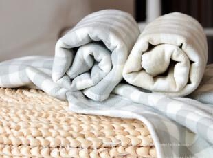 米子家居 家居用品条纹方格纱布浴巾,毛巾,