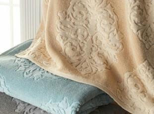 简单的奢华 深浅立体徽章图案提花双层圈绒浴巾三件套现货限时9折,毛巾,