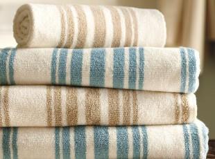 时尚家居 里维埃拉条纹纯棉土耳其600克浴巾毛巾方巾三件套,毛巾,