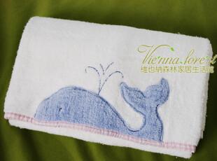 ※维也纳森林※美国品牌「可爱鲸鱼」精美贴布绣毛圈纯棉浴巾,毛巾,