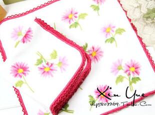 XY百货♥出口日本粉色太阳花割绒手绢手帕女士全棉(特价),毛巾,