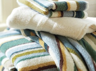 时尚家居浴巾套件 土耳其多色条纹纯棉有机棉浴巾毛巾方巾三件套,毛巾,