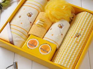日本内野UCHINO系列小蜜蜂套装毛巾礼盒3 生日礼物 创意毛巾 包邮,毛巾,