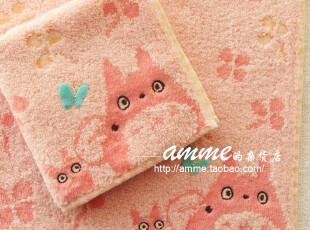 外贸出口纯棉无捻纱粉红龙猫小方巾手帕,毛巾,