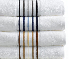 美国进口-奢华POLO by Ralph Lauren 白色条纹长绒棉浴巾 国内现,毛巾,