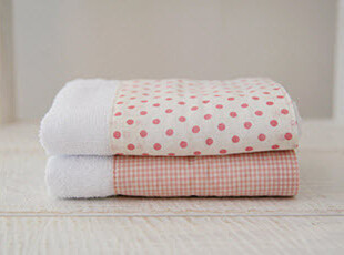 【超值换购|韩国家居直送】粉色圆点拼接款毛巾,毛巾,