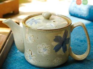 素朴/山田烧日式和风手绘陶瓷茶壶 青花纹样水壶 可配茶杯果盘,水壶,