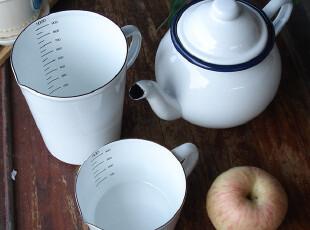 欧洲单搪瓷水壶,量杯,烧水壶,茶壶,凉水壶,搪瓷杯 白色,水壶,