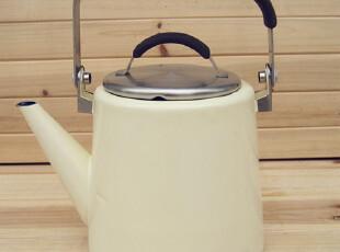 LASION  纯色系列 1.7L加高搪瓷烧水壶 咖啡壶 直壶  象牙白,水壶,