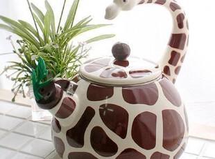 『韩国进口家居』B777 可爱非洲长颈鹿搪瓷鸣笛烧水壶,水壶,