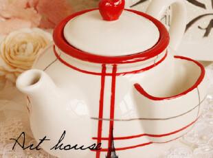 出口欧美星巴克风浮雕复古陶瓷咖啡壶 水壶 红色格子凉水壶 茶壶,水壶,