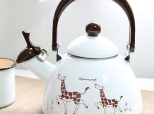 「韩居屋」可爱长颈鹿卡通涂鸦鸣笛烧水壶 韩国进口搪瓷壶 dp006,水壶,