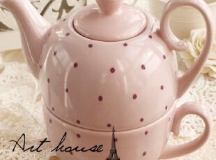 出口欧美水玉波点陶瓷双层水壶 咖啡壶 多用茶壶 外贸出口余单C,水壶,