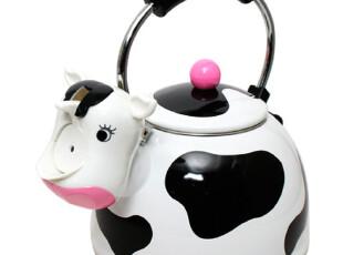 『韩国家居』可爱精致奶牛形状抗菌不锈钢鸣笛烧水壶2.2L 两色选,水壶,