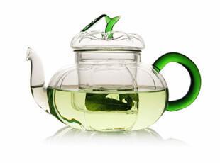 耐热玻璃茶具玻璃南瓜壶绿把花茶壶带玻璃内胆过滤花草茶具玻璃壶,水壶,