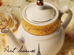 出口欧美金边水壶 陶瓷茶壶 咖啡壶 凉水壶 外贸出口余单咖啡器具,水壶,