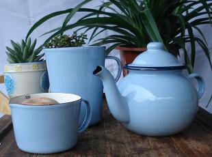欧洲单搪瓷开水壶,量杯,烧水壶,茶壶,凉水壶,搪瓷杯 蓝色,水壶,
