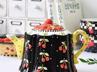 小樱桃 外贸陶瓷手绘 凉水壶 茶壶 冷水壶 咖啡壶,水壶,