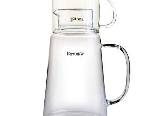 Lotus.w秋彤正品 耐高温玻璃冷水壶 大容量凉水壶+带把玻璃杯套装,水壶,
