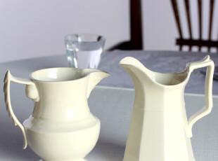 G白色陶瓷欧式水壶两件套,水壶,