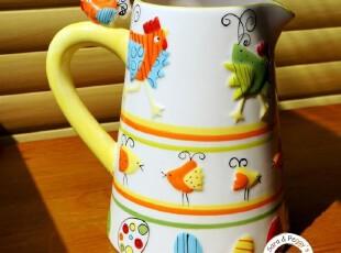 QT077 明黄色 手绘小鸡 立体效果 漂亮大凉水壶 花瓶 阳光照耀~,水壶,