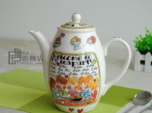 千度*blond正品*大咖啡壶*冷水壶*果汁壶*外贸陶瓷手绘餐具|原单,水壶,