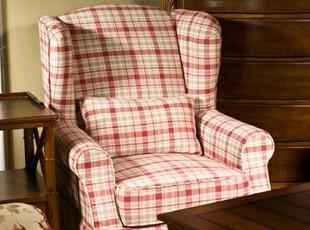 2012布艺沙发 美式乡村田园地中海 苏格兰格子休闲单人沙发,沙发,