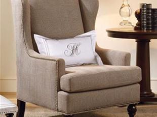 2012harbor house美式经典宽布艺咖啡色单人沙发老虎椅子可定制,沙发,