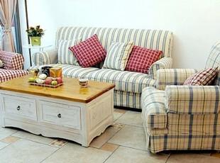 2012地中海 蓝白红黄条纹格子田园乡村美式清新布艺沙发三人沙发,沙发,