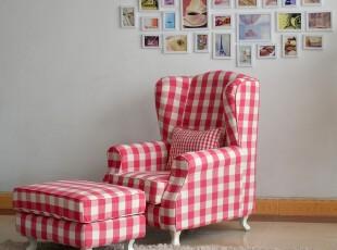 高档纯棉老虎椅太师椅单人沙发脚凳,沙发,