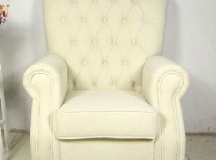 2012美式乡村 简欧田园 简约风格 纯色单人沙发 布艺沙发可定制,沙发,