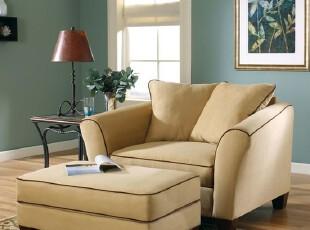 2012新款驼色美式乡村地中海田园布艺简约单人沙发配送脚蹬可定制,沙发,