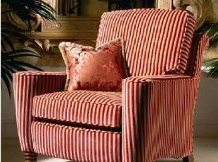 2012美式布艺经典单人沙发美克美家 乡村田园 欧美日式 红色条纹,沙发,