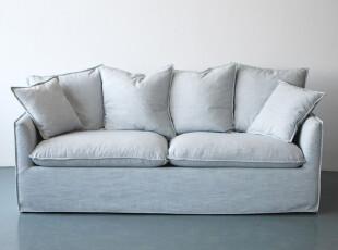 出口法国梅尼沙纳瓦白亚麻布艺羽绒两人位扶手沙发 现货特价,沙发,