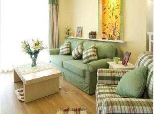 2012田园地中海 美式乡村 绿色布艺三人沙发 条纹格子 可定制,沙发,