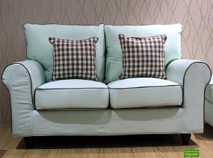 东居 包邮 双人沙发布艺地中海客厅组合营美式乡村 淡绿色+咖啡边,沙发,