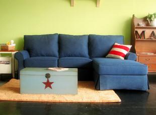 2012 地中海田园乡村布艺沙发牛仔蓝色L型转角组合双人加贵妃榻,沙发,
