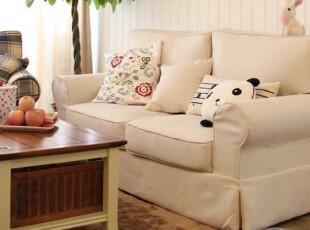 2012纯色米白北欧宜家简约地中海田园双二两人布艺可拆洗客厅沙发,沙发,