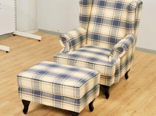 2012美式乡村 田园地中海 布艺沙发 老虎椅 格子单人沙发,沙发,