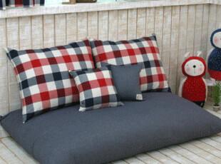 10.5【韩国家居】现代风格格子天然棉懒人沙发韩式地沙发 中大,沙发,