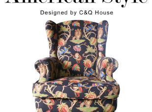 淘家具:送货到家 出口老虎椅 欧式高背椅 美式单人布艺沙发 包邮,沙发,
