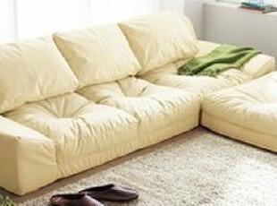 出口日本原单 北欧宜家风格 带脚踏超软沙发 3人位皮艺沙发贵妃椅,沙发,